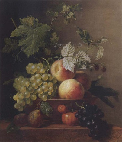 a still life of grapes and peaches in a bowl with other fruit all resting on a ledge by arnoldus bloemers