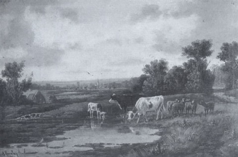 cattle in a river landscape by alfred robert quinton