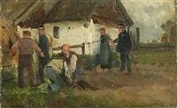 postyr ved en gård, en betjent holder bondekonen tilbage by erik ludwig henningsen