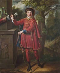 portrait of a huntsman in a red and gold embroidered cloak in a wooded landscape by peter corner