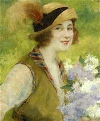 jeune élégante, la brassée de lilas by françois edouard zier