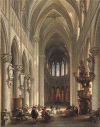 a gathering in a sunlit church by jules victor genisson