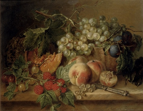 grapes plums peaches raspberries gooseberries and a pumpkin on a marble ledge by adriana johanna haanen