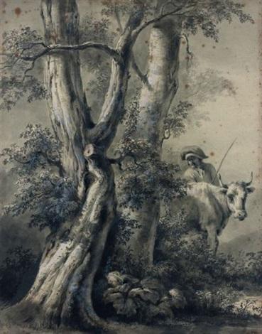 arbre avec un berger et une vache study by jean jacques de boissieu