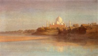 a view of the river wall of the taj mahal, agra by alexander scott