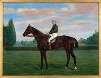 "portrait du cheval ""arlay"" et son jockey by george arnull"