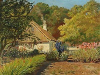 garden scenery and a house, summer by olaf viggo peter langer