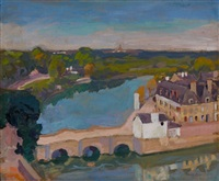 paysage au vieux pont by george oberteuffer