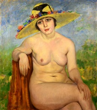 woman nude in a yellow hat by vittorio gussoni