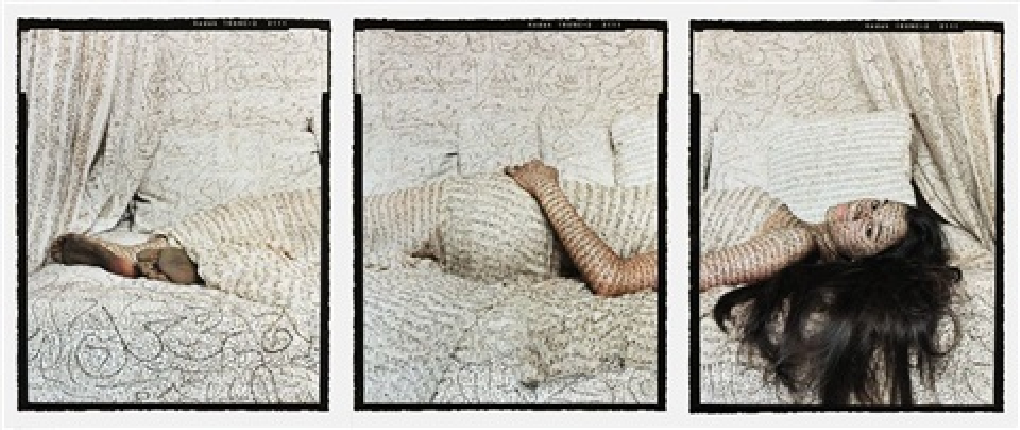 les femmes du maroc, harem beauty no.1 (triptych) by lalla essaydi