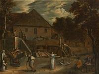 conversation devant le moulin à eau by jan siberechts
