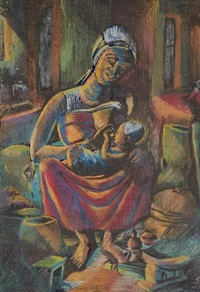 jeune femme akan allaitant by kofi antubam