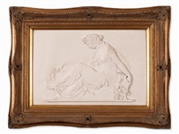 large bas-relief plaque of a women in a classical design by anonymous (20)