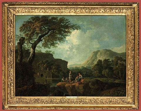 an italianate river landscape with an angling party mountains beyond by george barret