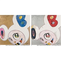 1. dob in pure white robe (pink & blue), 2. dob in pure white robe (navy & vermilion) by takashi murakami