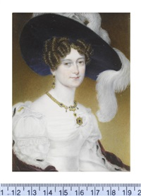 victoria, duchess of kent (1786-1861), wearing white décolleté dress with lace trim to sleeves, her ermine trimmed crimson cloak draped... by henry collen