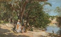 paseante y vendedoras junto al lago by lucien alphonse gros