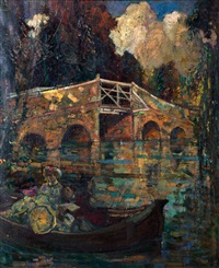 bridge over river by john henry amshewitz
