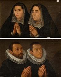 Pareja de retratos de figuras orantes