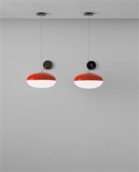 pair of rare ceiling lights, model no. 2077 by gino sarfatti