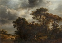 wooded river landscape with angler seated on the bank by patrick nasmyth
