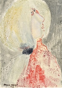 girl in a red turtleneck by margit anna
