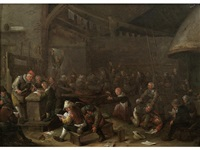 peasants drinking and brawling in a tavern by egbert van heemskerck the younger