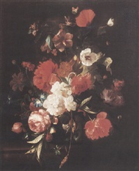 still life of roses, peonies, a poppy and other flowers in a glass vase by philips van kouwenberg