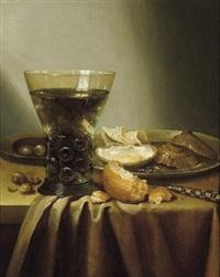 stillleben mit einem gefüllten weinglas und austern by adrian j. craen
