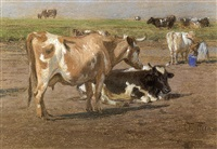 a milkmaid among dairy cows by oskar frenzel