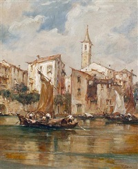 sailing on a backwater, venice by e. zeno