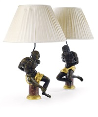 figural group lamps (pair) by pietro tacca