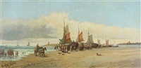 beached boats at scheveningen in holland by hendrik vader