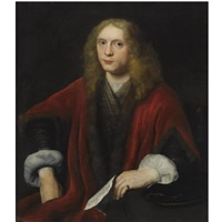 portrait of a gentleman, probably johannes van zell, seated, wearing a gold embroidered waistcoat and a crimson fur-trimmed coat, holding a letter by abraham van dyck
