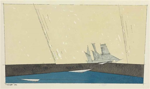 sailing ship on black and blue sea by lyonel feininger
