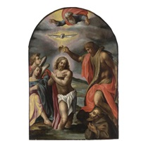 the baptism of christ with saint francis of assisi by cesare calense