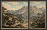 rugged town landscape (diptych) by joseph p. frey
