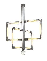 a nickeled-metal and glass chandelier, circa 1929 by jacques adnet