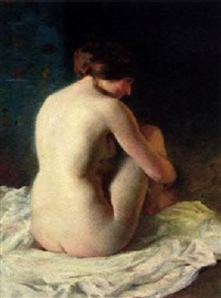 a seated nude by adrien louis demont