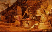 a kitchen still life with a woman near a well by hendrik bogaert