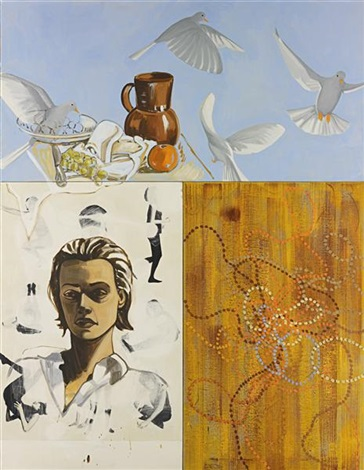 portrait with doves in 3 parts by david salle