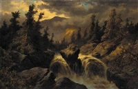 landscape with waterfall by s.j. remington