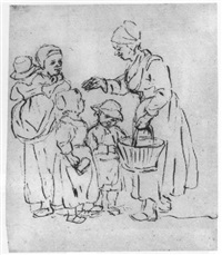 two peasant women, one holding a child and the other a basket, with two children by christina chalon