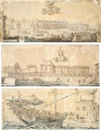 view of the piazza di montecavallo and the quirinal (+ 2 others, one 1704, on 3 sheets; 3 works, 2 w/point of the brush and blue wash, on 4 sheets) by carlo fontana