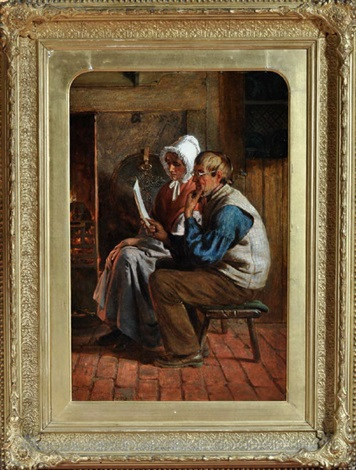 reading the queens letter an elderly pitman and his wife seated at a fireside study by henry hetherington emmerson