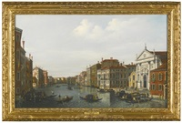 venice; view of the grand canal looking south-east from the s. eustachio to the fabbriche nuove di rialto by canaletto