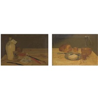 a still life with pitcher, glasses, a loaf of bread and a platter (+ a still life with writing materials, a knife, a quill, ink and sealing wax; pair) by bonaventura r