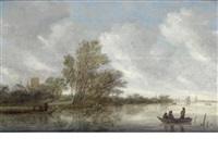 an extensive river landscape with figures in a barge, a village beyond by salomon van ruysdael