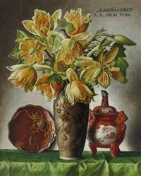 blumenstrauß in vase und asiatischer dekor by alois raimund hein