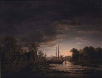 a moonlit river landscape (said to be abcoude) by jacobus theodorus abels